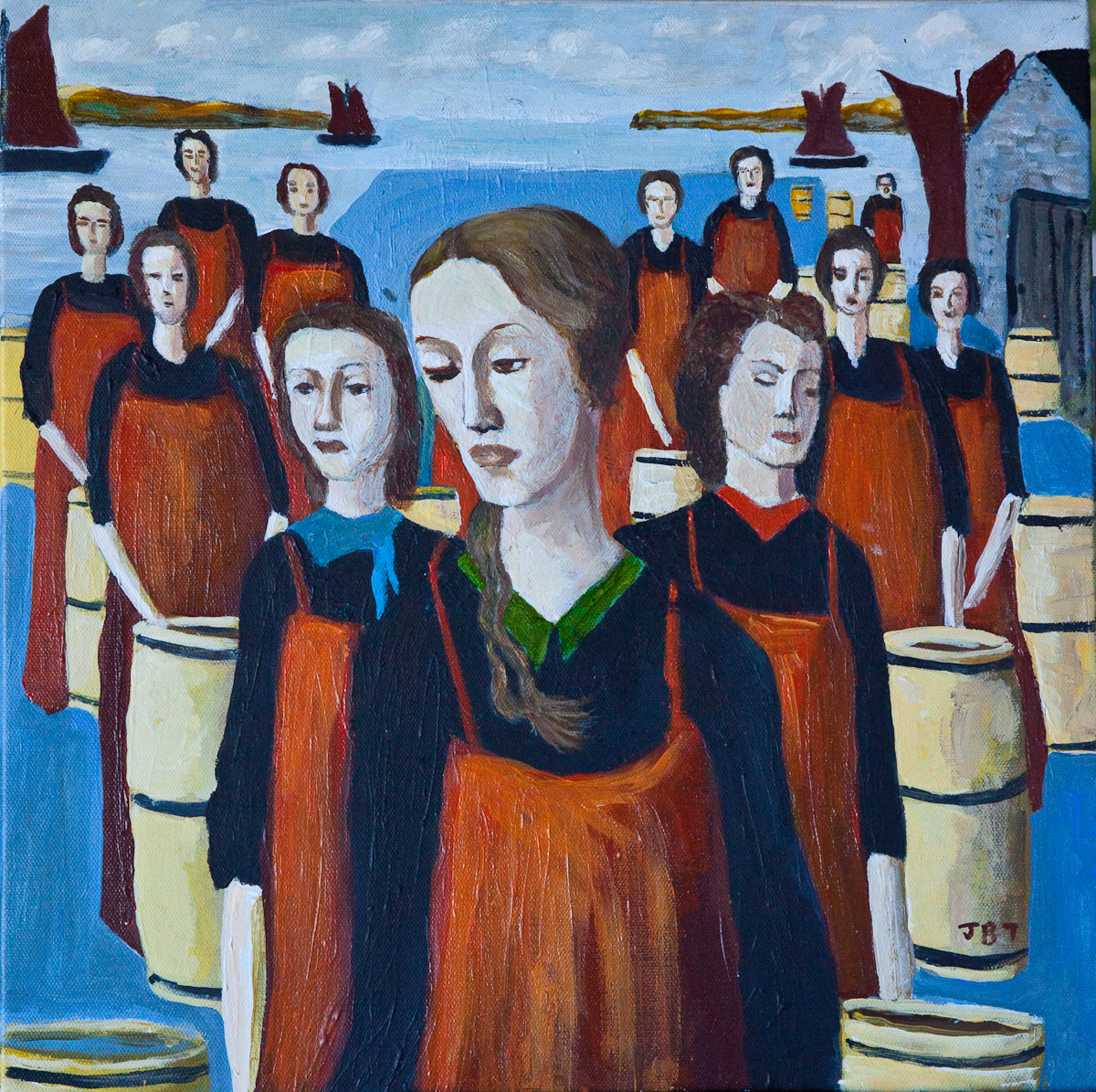 FISH_PACKERS_2.jpg - Acrylic on Board, 400 x 400, 2009, £250.00